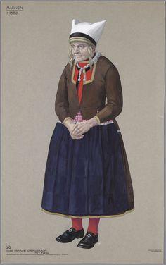 Marken, ca. 1830. Oude vrouw in zondagsdracht met flebs. Reconstructie naar Maaskamp en originele tekeningen in bezit van het Openluchtmuseum. kunstenaar: Duyvetter, Jan #NoordHolland #Marken