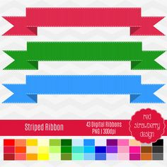 Striped Ribbon  43 Digital Clip Art Instant Download by RedStrawberryDesign
