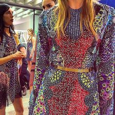 A dazzling close up of #marykatranzous showstoppigng #SS16 collection. #LFW #regram @tashablessing by netaporter