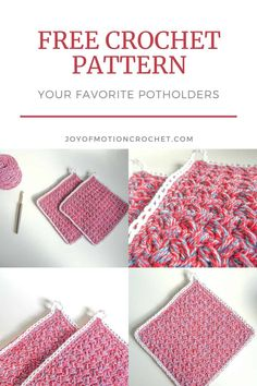 Free crochet pattern for Your Favorite Potholders. Easy crochet pattern for your left over yarn stash. Make these have a new favorite crochet accessory in the kitchen. Easy quick crochet pattern for your home. Scrap Yarn Crochet, One Skein Crochet, Crochet Hot Pads, Crochet Dishcloths, Crochet Blocks, Crochet Hook Sizes, Crochet Home, Free Crochet, Crochet Kitchen