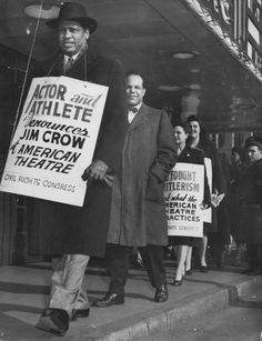 Paul Robeson, internationally famous actor and singer, joins the picket line outside the American Theater on Jan. 25, 1947. He had performed the night before to an integrated audience at the Kiel Opera House, but refused to play segregated theaters.