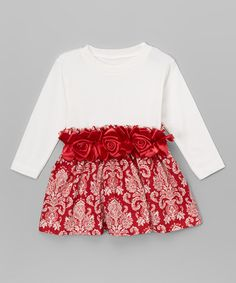 Another great find on #zulily! Red Damask Roses Dress - Infant & Toddler #zulilyfinds