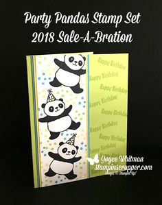 Who doesn't love these adorable pandas? They are so cute! You can get them in the 2018 Stampin' Up! Sale-A-Bration catalog. They are perfect for so many types of handmade cards and projects.