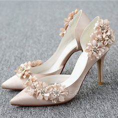 Women's Satin Stiletto Heel Pumps With Flower (047104010)