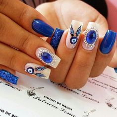 Get The Scoop On Blue Nail Designs Royal Coffin Before You're Too Late 28 Blue Nail Designs, Cool Nail Designs, Evil Eye Nails, American Nails, Rhinestone Nails, Stylish Nails, Blue Nails, Perfect Nails, Stiletto Nails