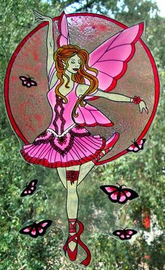 WICOART STICKER WINDOW COLOR CLING FAUX STAINED GLASS FÉE DANSEUSE ROSE FAIRY
