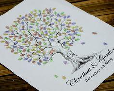 PDF file of Hand Drawn Fingerprint Wedding Tree print von LiWedding