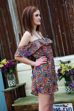 Ruffle Paisley Off Shoulder Dress-Wear Us Out Boutique Conroe/Montgomery, Texas Ruffle Paisley Off Shoulder Dress Or Tunic is so colorful and fun!