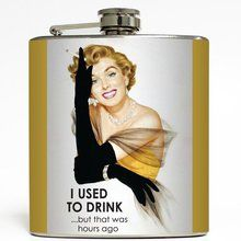 I Used to Drink...But That Was Hours Ago - Liquid Courage Flasks - 6 oz. Stainless Steel Flask. Available at OurPamperedHome.com