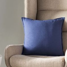 Willa Arlo Interiors Strathmore Linen Throw Pillow Size: x Color: Dark Blue, Fill Material: No Fill Modern Throw Pillows, Throw Pillow Sets, Outdoor Throw Pillows, Pillow Covers, Decor Pillows, Farmhouse Decorative Pillows, Sit Back And Relax, Home Decor Furniture, Decoration