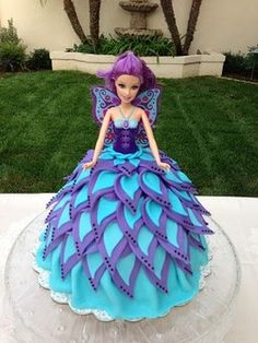 doll cake, blue and purple Fairy Birthday Cake, Barbie Birthday Cake, Frozen Birthday Cake, Birthday Cake Girls, Barbie Fairy Cake, Neon Birthday, Barbie Torte, Bolo Barbie, Lego Torte