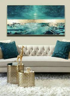 Blue Abstract Painting, Large Painting, Texture Painting, Knife Painting, Abstract Paintings, Abstract Canvas, City Painting, Easy Paintings, Gold Leaf Paintings