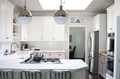 After: Modern Farmhouse Kitchen Cabinet Renovationcountryliving Chalk Paint Kitchen Cabinets, Paint Cabinets White, Kitchen Cabinet Remodel, Farmhouse Kitchen Cabinets, Modern Farmhouse Kitchens, Kitchen Redo, Kitchen Ideas, Cheap Kitchen, White Corian Countertops
