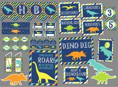 Dinosaur Party Decoration Package. Printable Dinosaur Birthday