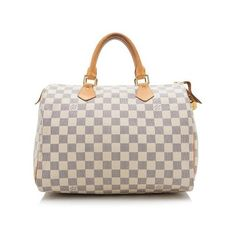 Pre-Owned Louis Vuitton Damier Azur Speedy 30 Satchel ($650) ❤ liked on Polyvore featuring bags, handbags, blue, print purse, louis vuitton purse, louis vuitton satchel, print handbags and blue satchel