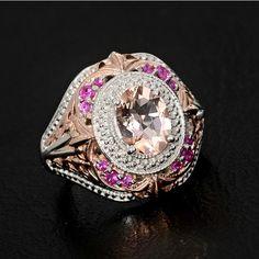 2.00ctw Genuine Pink Morganite Pink Sapphire Ring size 8  http://www.ebay.com/itm/221160601005?ssPageName=STRK:MESELX:IT&_trksid=p3984.m1555.l2649