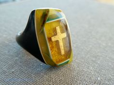 Antique 1930s Prison Ring Gold Cross Bakelite by 52ndstreetvintage