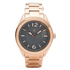 Go for the gold with the Tommy Hilfiger 1781369 Women's Rose Gold Plated Steel Bracelet Watch. Only $100 #March #MarchMadness #TommyHilfiger #watches