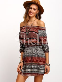 Shop Folk Print Off The Shoulder Dress online. SheIn offers Folk Print Off The Shoulder Dress & more to fit your fashionable needs.