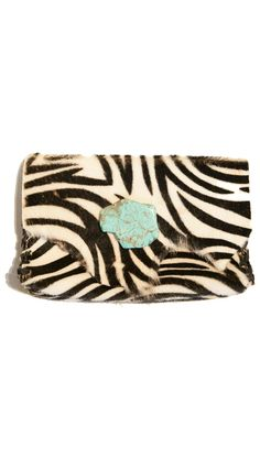 Soft Leather Wallet/Clutch - Zebra White by Anat Marin