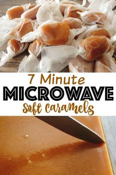 The best easy microwave soft caramels recipe! Perfectly chewy and super simple to make this delicious candy in just 7 minutes! The best easy microwave soft caramels recipe! Perfectly chewy and super simple to make this delicious candy in just 7 minutes! Easy Candy Recipes, Sweet Recipes, Snack Recipes, Cooking Recipes, Fudge Recipes, Fast Fudge Recipe, Paleo Recipes, Soft Caramels Recipe, Microwave Caramels