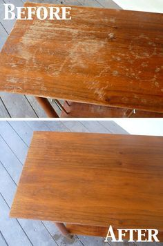 1/4 cup vinegar 3/4 cup olive oil wood scratch fix! Worth a try....I need to do this to my antique dinning room table I just purchased!