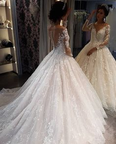 Ball Gown Wedding Dresses Fit For A Queen ★ ball gown wedding dresses with long sleeves illusion back floral noranaviano sposa princess wedding dresses sweetheart strapless neckline detached sleeves full lace Princess Wedding Dresses, Modest Wedding Dresses, Bridal Dresses, Wedding Gowns, Wedding Bride, Backless Wedding, Queen Wedding Dress, Lace Wedding, Dream Wedding