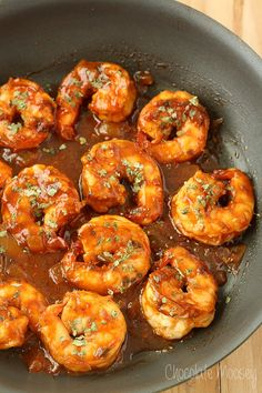 Spicy Beer Shrimp served over rice or a baked sweet potato gets dinner on the table in almost no time. Cooks in 20 minutes!
