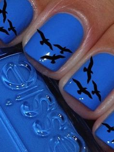 Birds in flight nail art