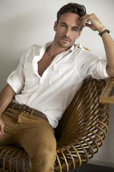 white shirt + khaki pants // Nick Steele (actor)