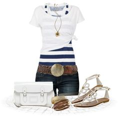 Navy and white striped tank with with pull over tee and jean shorts. White bag and sandals. Summer outfit