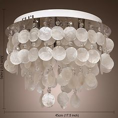 Flush Mount with 4 Lights in White Shell Shade - USD $ 99.99