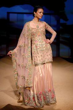 Powder Pink And Gold Thread Work Sharara Set
