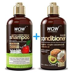 WOW Apple Cider Vinegar Shampoo Hair Conditioner Set - 2 x 16 9 Fl Oz / - Increase Gloss- Hydration- Shine - Reduce Itchy Scalp- Dandruff Frizz - No Parabens or Sulfates - All Hair Types Coconut Oil Conditioner, Coconut Milk Shampoo, Shampoo And Conditioner, Homemade Conditioner, Homemade Shampoo, Homemade Facials, No Yellow Shampoo, Apple Cider Vinegar For Hair, Vinegar Hair