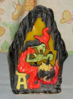 Vintage Halloween Gurley Candle ~ Rare Witch w/ Cauldron