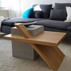 Benola Coffee Table - Concrete, Oak Wood - by CARVIDO #MONOQI