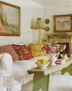 Hydrangea Hill Cottage: French Country Cottage in Reds and Yellows.Can use blues instead of reds with my new sofa.blue checked pillow, blue toile, and floral French Country Living Room, French Country Cottage, French Country Style, Cottage Living, Cottage Chic, Cottage Style, Cottage Homes, French Decor, French Country Decorating