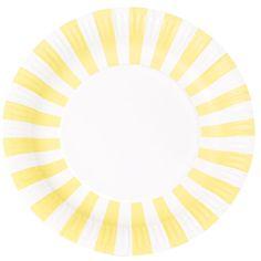 $6 for 12 Party Plates - Lemon Yellow Stripes