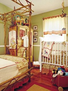 This child's parents did most of the handiwork you see in their son's nursery. First, they painted the walls a moss green color, then the mom mixed all the fabrics and drew the designs for the twin bed linens. She carried her fabrics and sketches to a local seamstress who produced the ideas just as she had imagined. The curtains are simple panels combining red check fabric, a plain ecru linen, and red rickrack. The mother found a small armoire at a garage sale that was an ideal closet for…