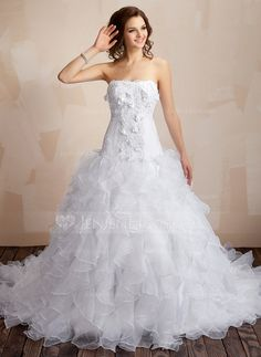 Wedding Dresses - $226.99 - Ball-Gown Sweetheart Chapel Train Organza Satin Wedding Dress With Lace Beadwork Flower(s) (002000106) http://jenjenhouse.com/Ball-Gown-Sweetheart-Chapel-Train-Organza-Satin-Wedding-Dress-With-Lace-Beadwork-Flower-S-002000106-g106?ver=1