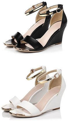 Women's Shoes Wedge Heel Wedges Sandals Office & Career / Dress / Casual  Black / White