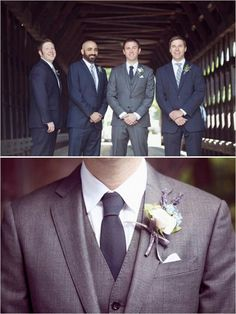 Love. White or champagne tie for groom, no stripes for groomsmen.