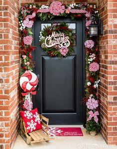 Deck your front door with classic candy cane accents and Christmas decor this holiday season!