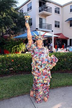 The Statue of Liberty, constructed entirely out of Girl Scout cookie boxes on display courtesy of Resource Depot!