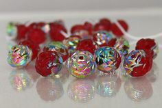 Red Rosebud Czech Glass Beads Siam Ruby Vitral 8mm 12 by simplypie