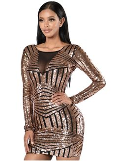 60c34b0df27 DearLover Special Occasion Women Bodycon Rose Black Open Back Long Sleeve  Sequin Party Mini Dress vestido de festa curto - TakoFashion - Women s  Clothing ...