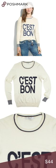 "MADEWELL Ivory C'est Bon Pullover Crewneck Sweater Size - S  This ivory and navy ""C'est Bon"" pullover sweater from MADEWELL is in excellent condition. It features:  Ultra-soft, extrafine merino wool. Playful striped cuffs. C'est bon means ""It's good"" en Français, and we must say, this sweater lives up to its promise.  Merino wool. Dry clean.  Measures: Bust 35"" Total Length: 26"" Sleeves: 25"" Madewell Sweaters Crew & Scoop Necks"