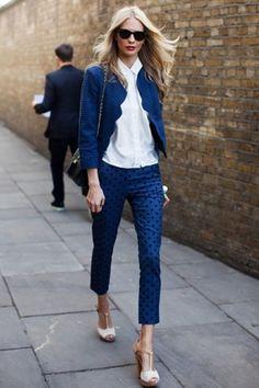 Blue polka dot pants