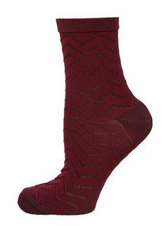 Coral Chevron Socks - New Look