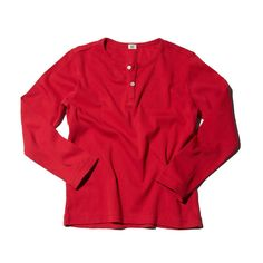 GOAT-MILK Long Sleeved Henly Top Ribbed - Crimson
